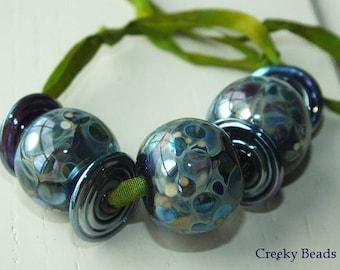 "Handmade Lampwork beads ""Blue Lagoon "" - Creeky Beads SRA"