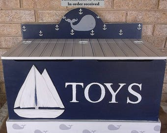 Nautical,Sailboats, Whales, Toy Box for Boys, Lake house cottage,Toy Chest,Trunk, Personalized, Nursery Chest, Made to Order, Custom Colors.