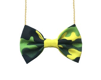 Limegreen Camo Bow Tie Necklace, Women Bowtie Accessory Camouflage Pattern, Cotton bow-tie for girls Black tie event Yellow green army