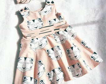 Tiger dress - baby dress - baby girl clothing - organic baby clothes - baby outfit - baby party dress - girls dress - kids clothing - peach