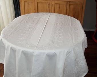 Damask Tablecloth Vintage Daisy Flowers German Cotton Unused 50 x 87