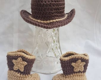 Crocheted Newborn Baby Cowboy Boots and Cowboy Hat Brown and Tan Photo Prop Baby Shower Gift