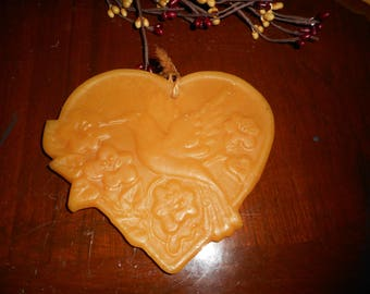 Vintage Beeswax Kitchen Ornament. Country Heart with Hummingbird & Morning Glories . Old German Ornament