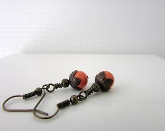 Orange Earrings Brass Earrings Pearl Earrings Swarovski Earrings Dangle Earrings Beaded Earrings Swarovki Jewelry Free US Shipping