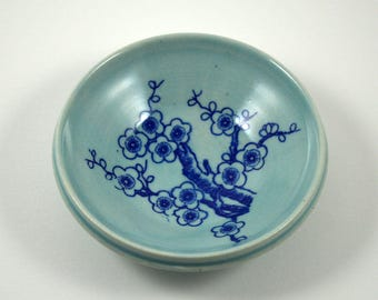 Blue Porcelain Ring Dish/ Ring Dish/ Something Blue/ Handmade Ring Dish/ Porcelain Ring Bowl/ Great Wedding Gift
