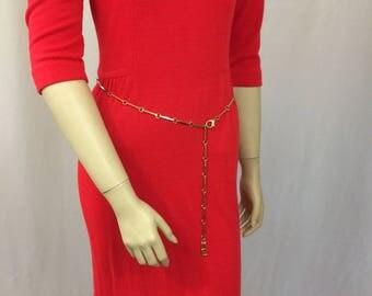 Skinny Gold Chain Link Belt Vintage Adjustable Hip Belt //Gold Tone Chain Link Belt //Mod GoGo 1960's Style Belt