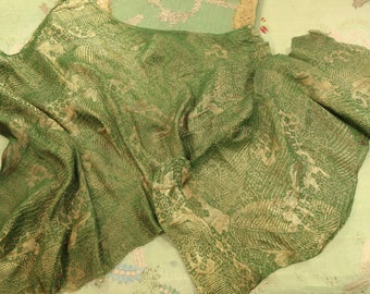 Lot Antique fabulous real metal lame and silk embossed golden green woven fabulous millinery trim shimmer 1920s fabric ribbonwork flapper