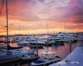 Sunset Photography, Summer Colors, Newport Marina, Coastal Home Decor, Master Bedroom Art, Colorful Sunset, Colors Orange, Office Wall Art