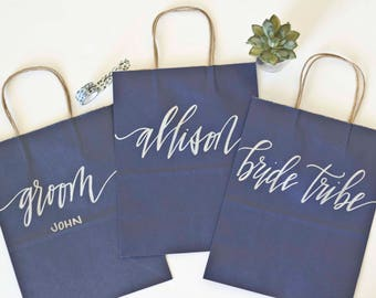 Custom gift bags + NAVY gift bags + Wedding gift bags + Bridal shower gift bag + Bachelorette Party bags + Welcome Bags / Handwritten