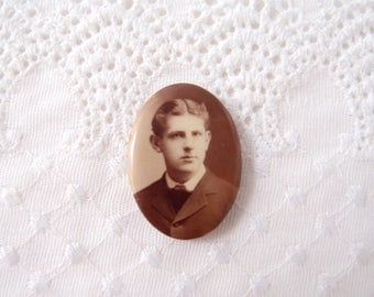 antique Edwardian Photo Pin sepia picture portrait oval pinback brooch Handsome Fella center part hair dapper suit Pin-Loc brand patd 1898
