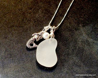 Sterling Necklace - Seaglass Necklace - Lake Erie Beach Glass Jewelry - Mermaid Necklace - FREE Shipping inside the United States