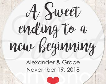 Sweet Ending to a New Beginning Wedding Labels, Wedding Favor Stickers, Treat Bag Sticker, Sweet and Salty, Snack Stickers - Set of 24