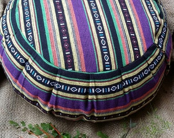 Exotic Cordoba Hasina Cotton Fabric  Round Buckwheat Hull Meditation Cushion