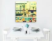 Mother's Day Gift, Beach Art Canvas Art, Travel Art, Beach Decor Art Mid Century Art Swimming Pool Art, Mom Gift
