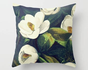 Magnolia pillow cover 18x18, farmhouse pillow, farmhouse pillow cover, vintage botanical art, Magnolia pillow fixer upper style, fixer upper