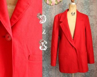 Sz M Vintage Red Pendleton Dress Coat Blazer Jacket