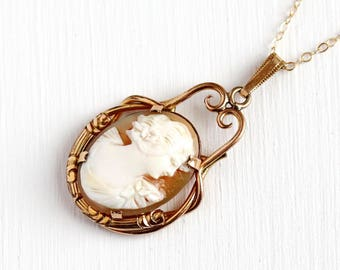 Vintage Cameo Necklace - Mid Century 12k Rosy Yellow Gold Filled Carved Shell Lavalier Pendant - 1940s WWII Female Silhouette Jewelry