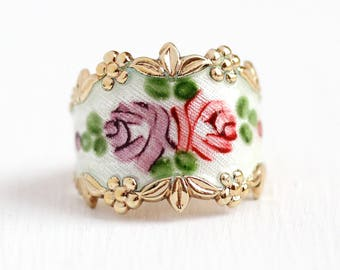 Vintage Flower Band - Gold Washed Sterling Silver White Guilloche Enamel Rose Cigar Ring - Retro Size 8 Vermeil Vargas Floral Jewelry