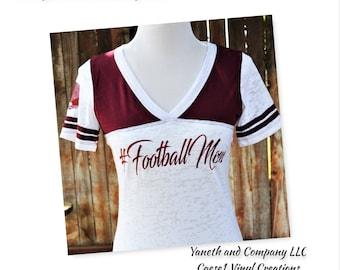 Football Mom Burnout T-shirt, Mom Football Burnout T-shirt,Football Mom shirt,Football shirt,Football mom customize shirt