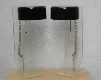 Pair Large Mid-Century Modern Lucite & Black Table Lamps