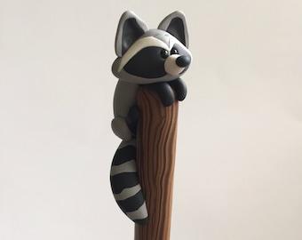 Polymer Clay Raccoon Ball Point Pen