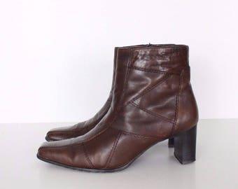 Vintage Brown 100% Real Leather TAMARIS Mid Heel Zip Ladies Ankle Boots Size UK7 EU40