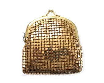 Y & S Gold Metal Mesh Kisslock Coin Purse