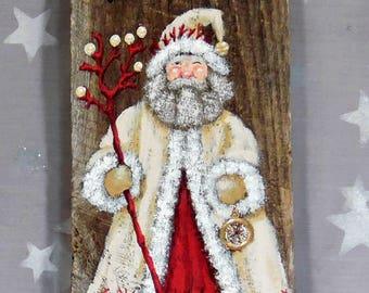 "Coral Bay Santa, Santa Claus, hand painted on Ozarks barnwood, original art, 5 1/2"" x 9 3/4"""