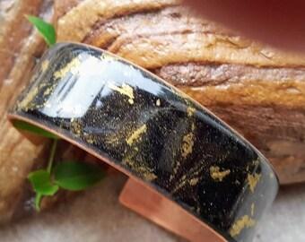 Black Copper Cuff - Black Copper Bracelet - Valentine Gift - Copper Bracelet - Black and Gold Bracelet - Black and Gold Cuff - Gift for her