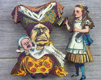Alice in wonderland & Queen of Hearts wooden brooches