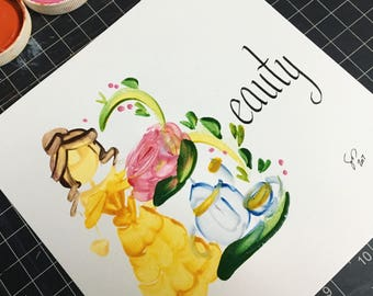 Beauty and the Beast Name Painting - Custom, Personalized