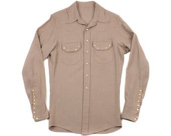 vintage 1940s western shirt • fine wool one of a kind, stylized collar mens western