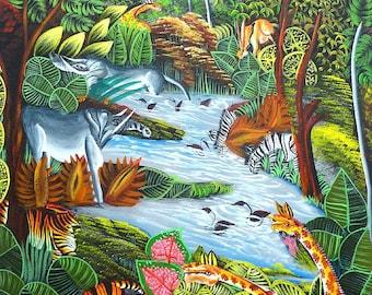 "Art of Haiti, Haitian Art, Haitian Canvas Painting, Canvas Wall Art, Jungle Scene, Haitian Painting, Original Painting  20"" x 24"""