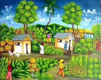 """Art of Haiti, Haitian Art, Haitian Canvas Painting, Canvas Wall Art, Haitian Village Scene, Haitian Painting, Original Painting  20"""" x 24"""""""
