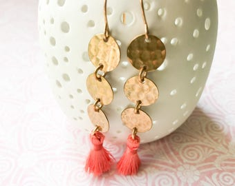Gold Brass Circles and Peach Orange Tassel Dangle Earrings Hammered Circles Geometric Boho Gypsy Earrings Lightweight Round Fringe Everyday