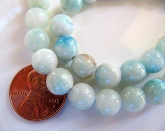 8mm Mountain JADE Beads in Pale Aqua, Blue and Cream, Dyed, Round, 1 Strand 16 Inches, Approx 48 Beads Gemstone Beads