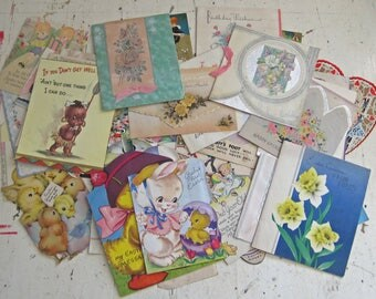 Vintage Valentine Easter and Birthday Card Lot
