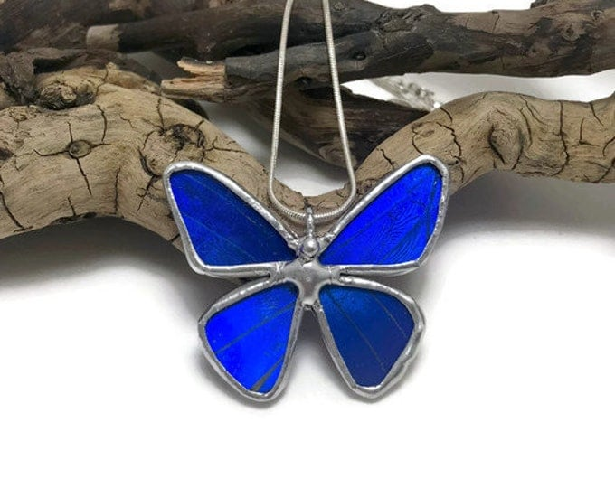 Featured listing image: Real Butterfly Necklace, butterfly, insect jewelry, handmade, Blue Morpho Pendant,handmade butterfly pendant, butterly wing, morpho Rhetenor