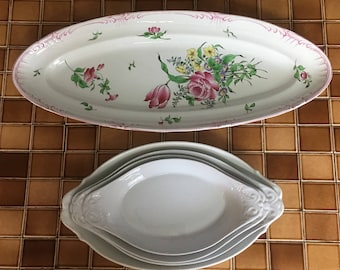 Set of French Country White Limoges Dishes, 3 Pieces
