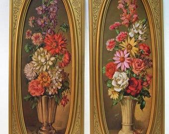 Vintage Floral Prints By Ann Cochran In Original Oval Frames