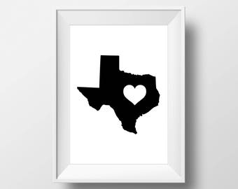 Texas, Heart, Love, Southern Gal, Playroom, State, Decor, Poster, art prints, Sign, black and white, Stylish, Modern, Instant Download