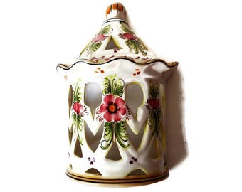 Vintage Portuguese Wall Hanging/ Ceramic Hand Painted Signed Candle Sconce or Planter/ Made in Portugal/ Garden Decor