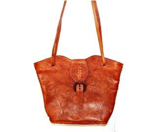 Vintage Tooled Leather Purse/Handbag from Mexico/ Soft Structure Leather/ Boho Shoulder Bag