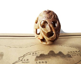 Vintage Chinese Soapstone Nested Egg/ Asian Carved Soapstone Sphere with Tiny Owl Inside