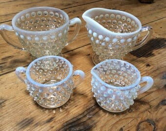 Vintage 1930 Milk & Clear Glass Creamer and Sugar Bowls inc MINATURE Set. Mint Condition.