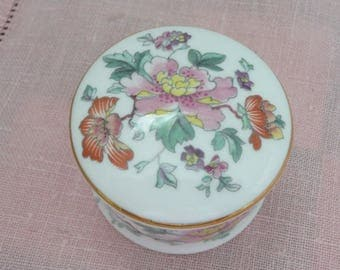 Prince Regent Small Floral Bone China Trinket Box, Miniature Bone China Ring Box, Made in England