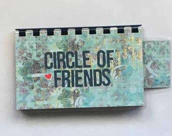 Handmade Sky Blue 'Circle of Friends' Blank Recipe book for Your Personal Recipes
