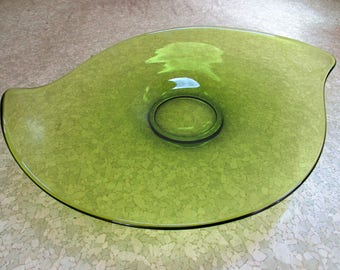 Vintage 1960s Green Viking Glass Console Bowl