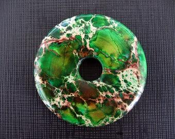 Gorgeous Green Variscite Sea Sediment Jasper Donut Pendant 50mm