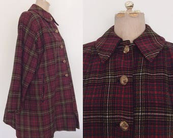 1940's Red Plaid Wool Swing Coat Vintage Jacket Size Medium Large by Maeberry Vintage